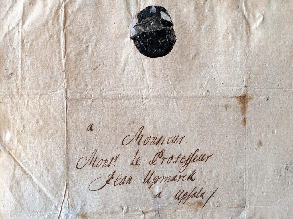 Brev från Christina Piper 24.11 1714 till sonens lärare_kuvert_