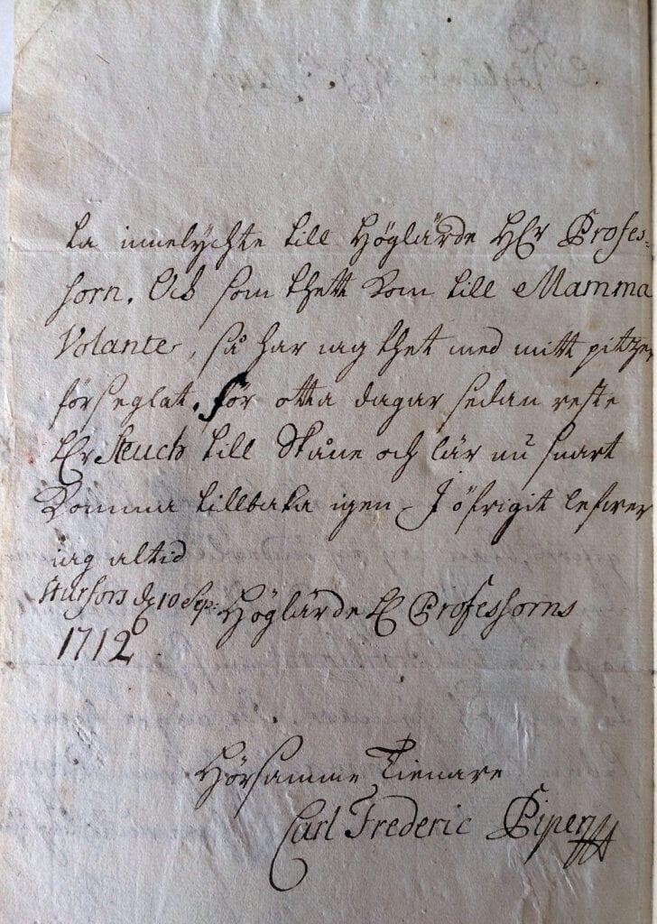 Carl Fredrik Piper brev 10.9 1712 sid 2