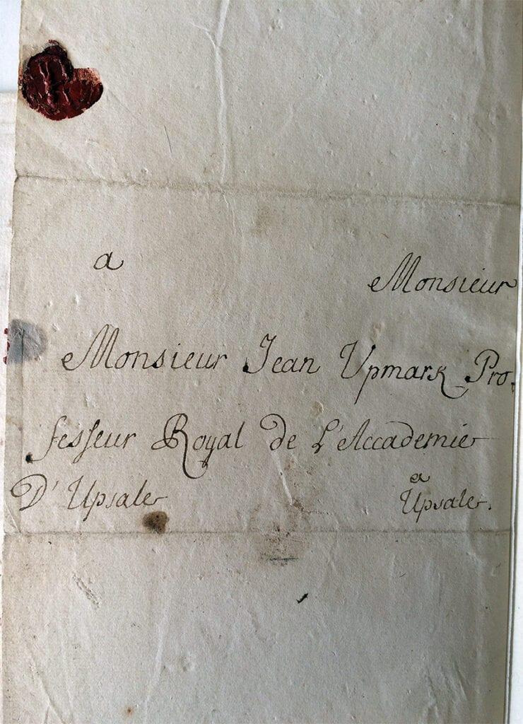 Carl Fredrik Piper brev 10.9 1712_kuvertet