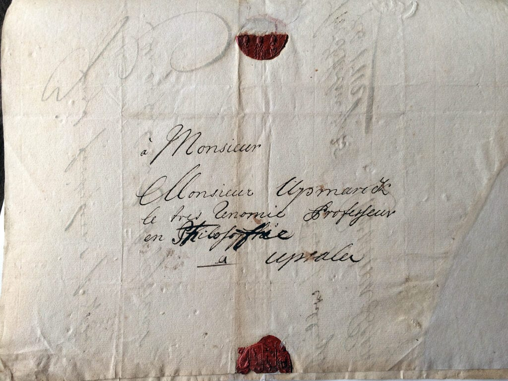 Christina Piper brev till sonens larare 15.2 1712_ kuvert