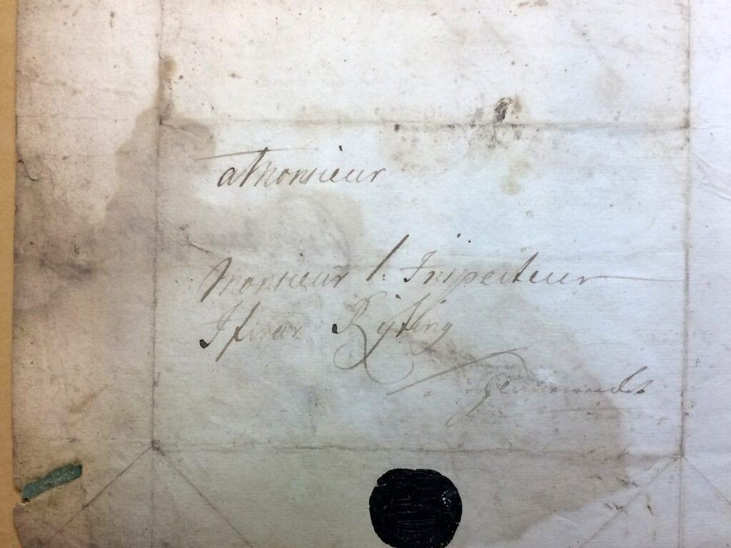 Brev ofullständigt 15 okt 1719 fr Christina Piper till inspector Ryting kuvert