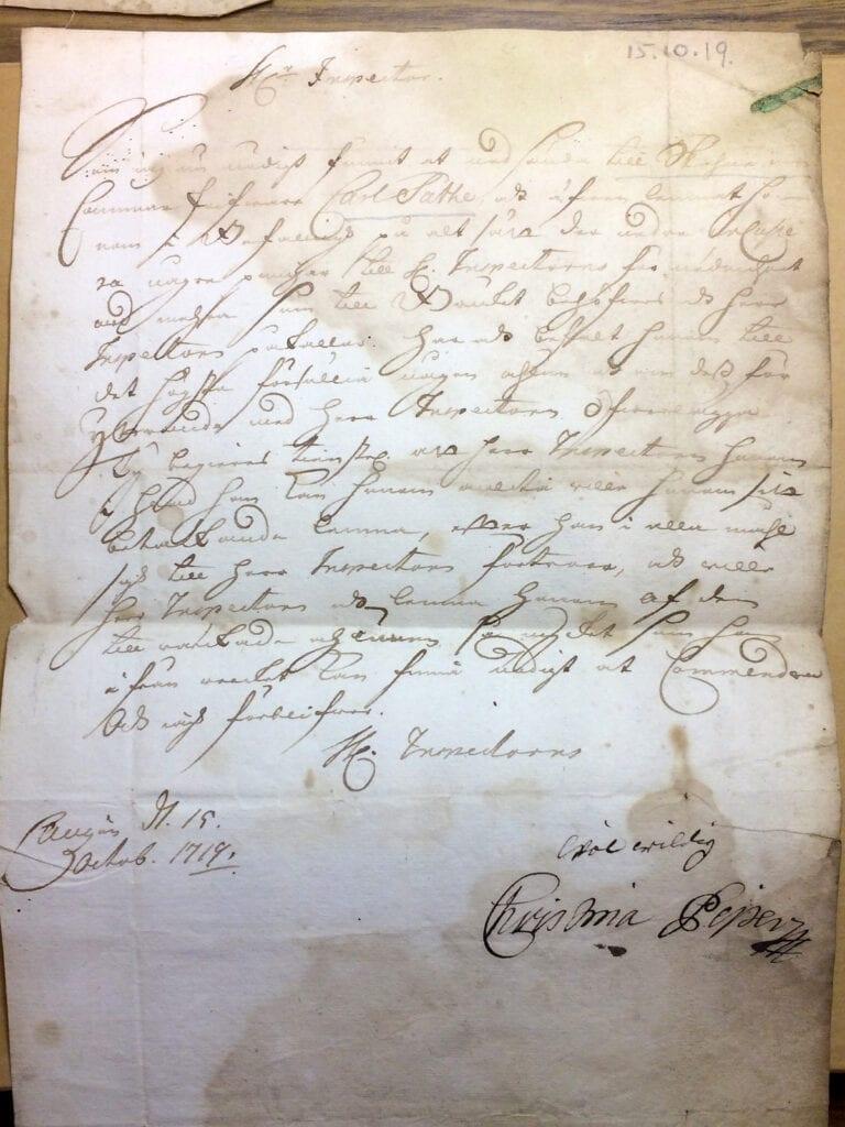 Brev ofullständigt 15 okt 1719 fr Christina Piper till inspector Ryting