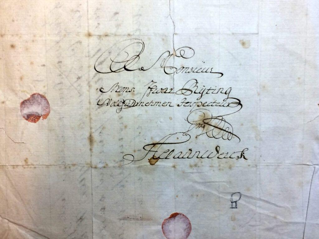 Brev 16.1 1720 fr Christina Piper till inspector Ryting Kuvertet