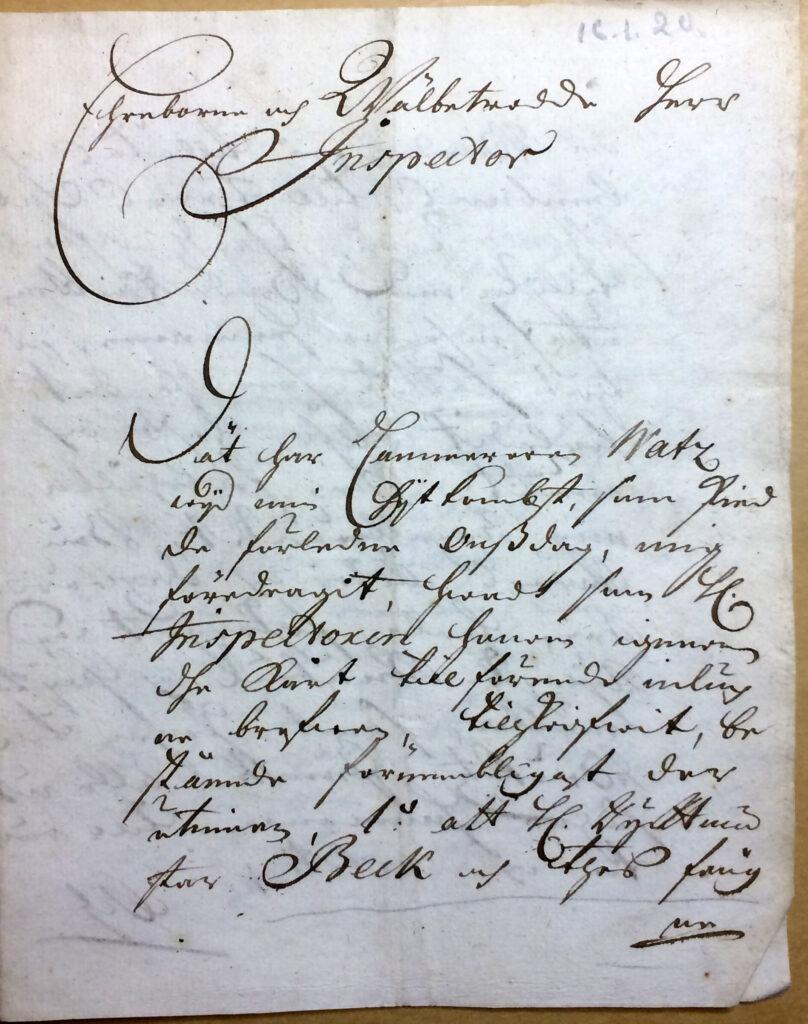 Brev 16.1 1720 fr Christina Piper till inspector Ryting 1