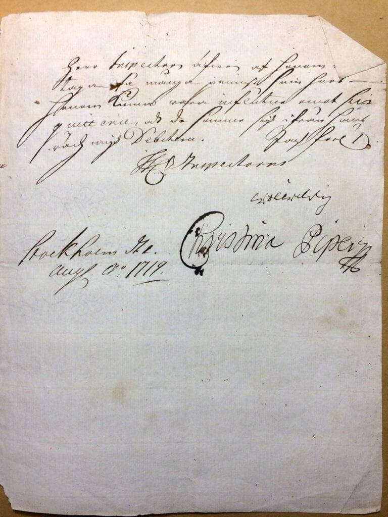 Christina Piper Brev augusti 1719 sid 3