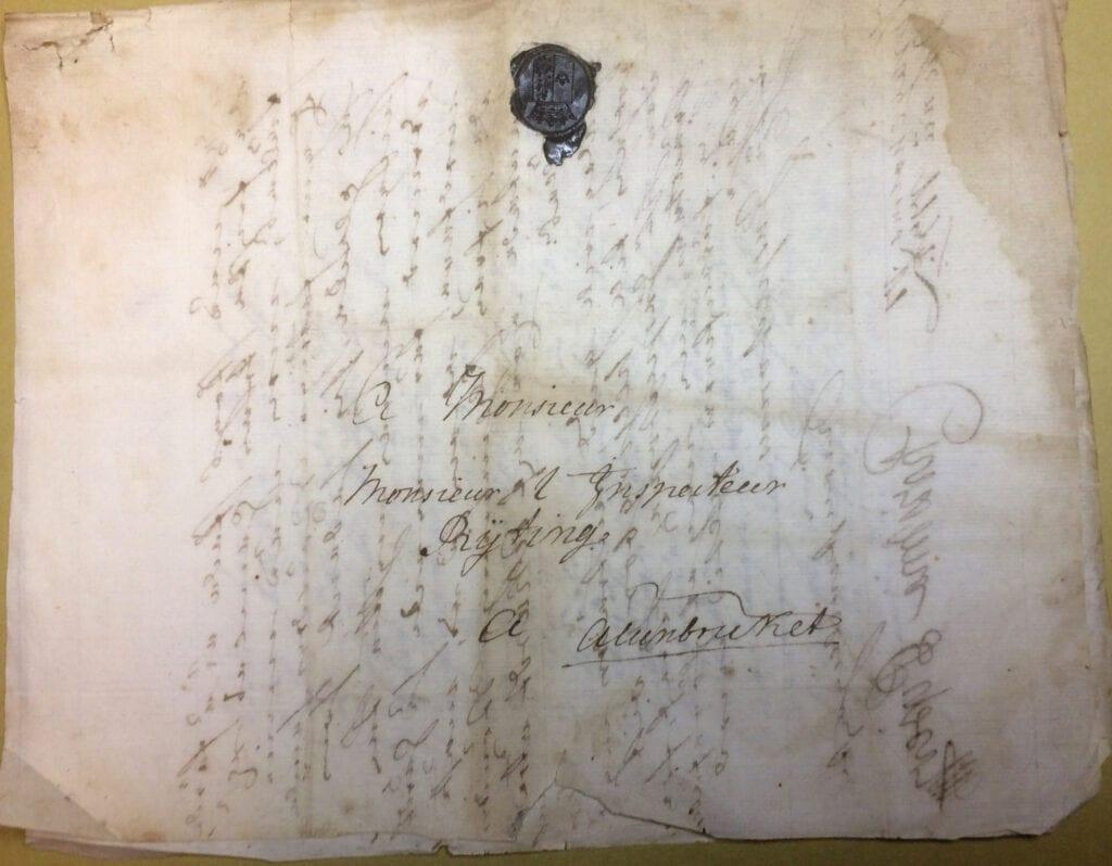 Christina Piper 17 juni 1739 kuvert
