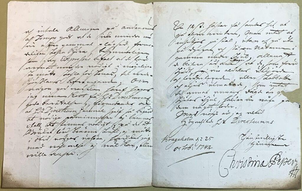 Christina Piper 25 oktober 1742 sid 2-3 uppslaget