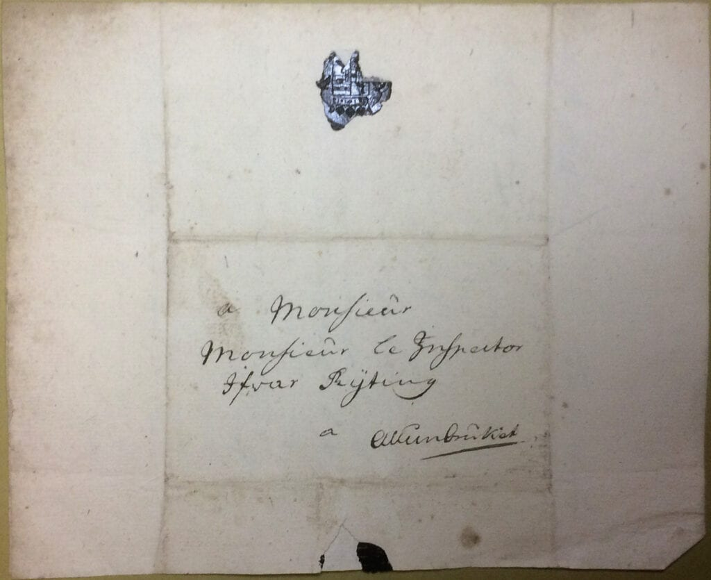 Christina Piper 5 augusti 1740 kuvert