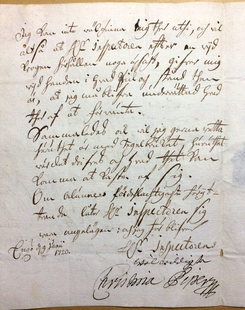 Christina Piper Brev 19 juni 1720_sid 2