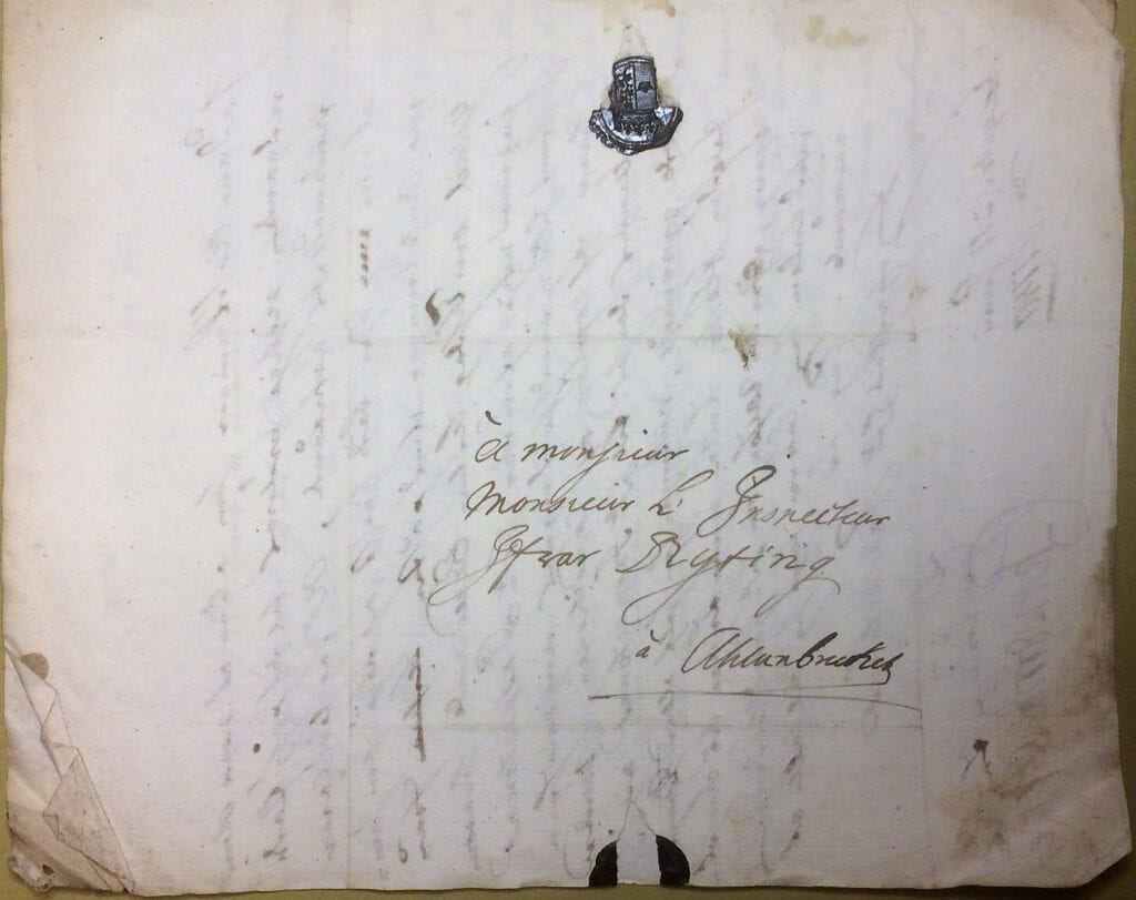 Christina Piper brev 11 juni 1740 Kuvert