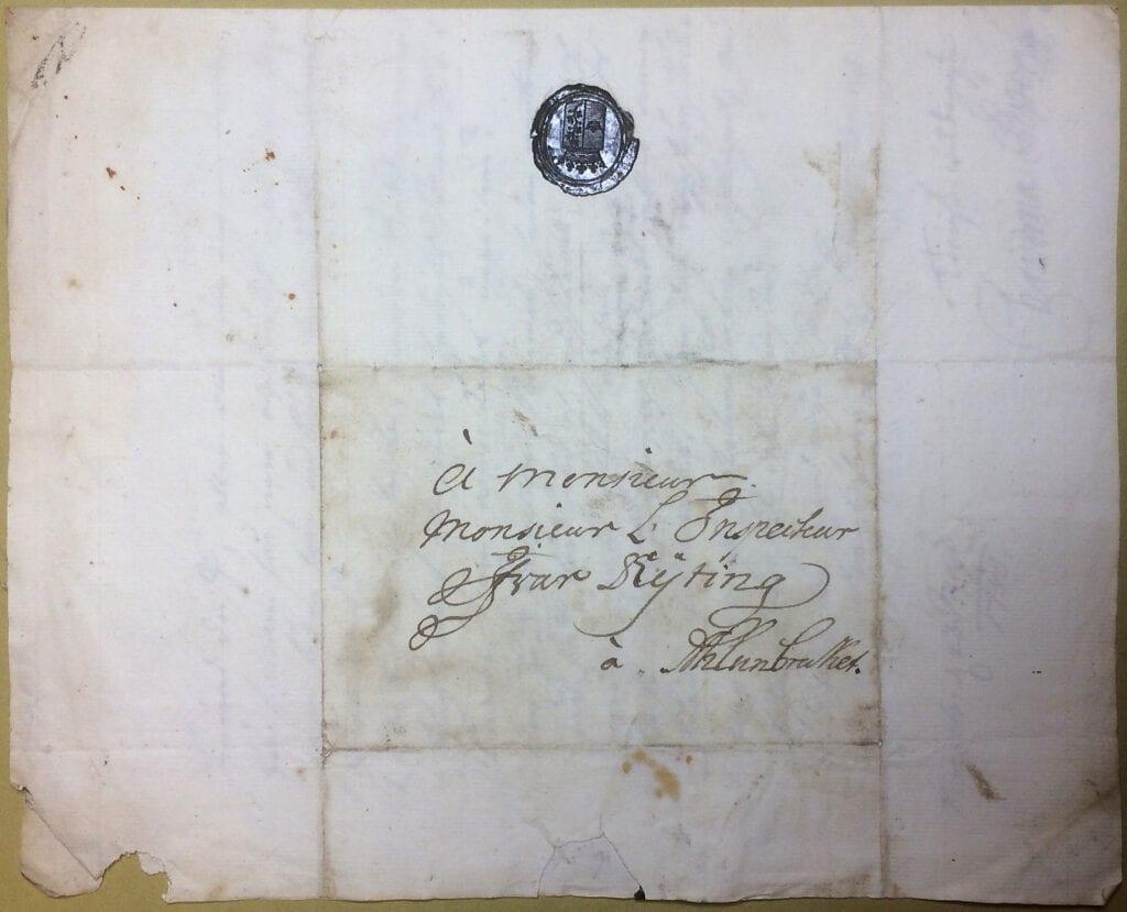 Christina Piper brev 23 maj 1740 kuvert