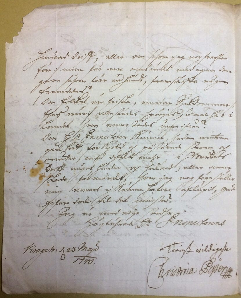 Christina Piper brev 23 maj 1740 sid 2