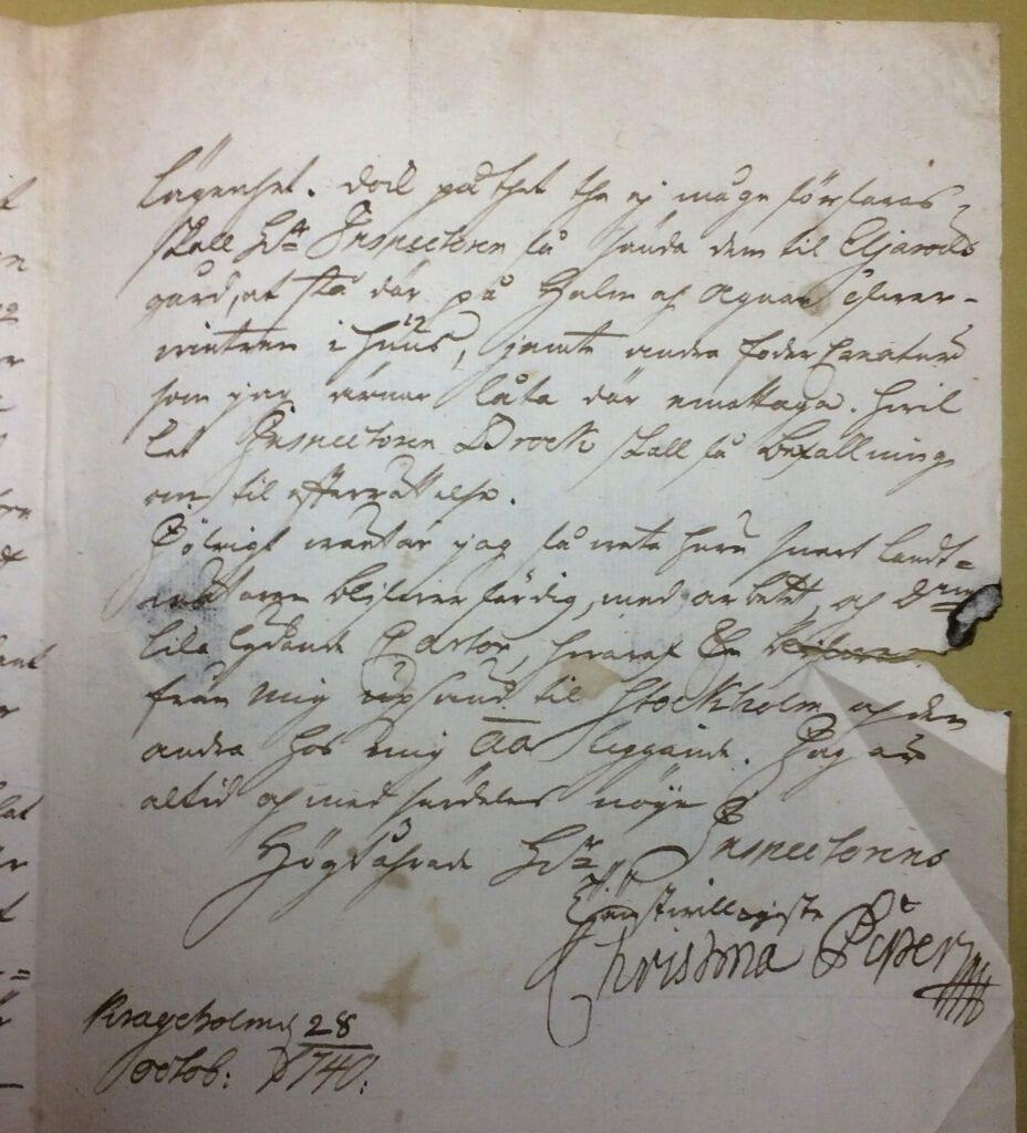 Christina Piper brev 28 oktober 1740 sid 3