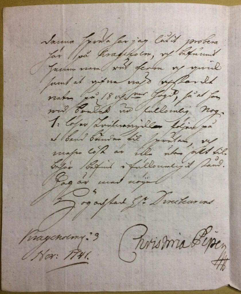 Christina Piper brev 3 november 1741 sid 2