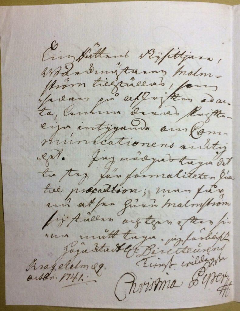 Christina Piper brev 9 oktober 1741 sid 2