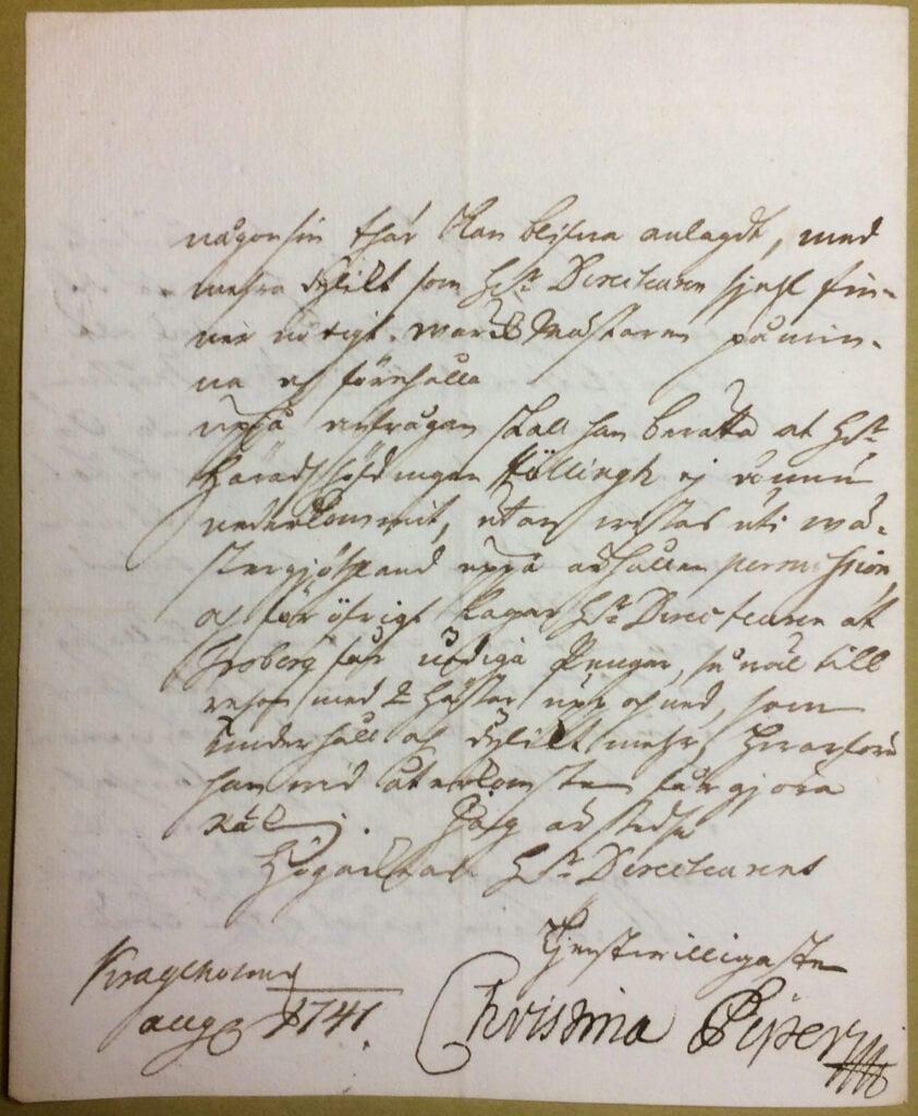 Christina Piper brev aug 1741 sid 4