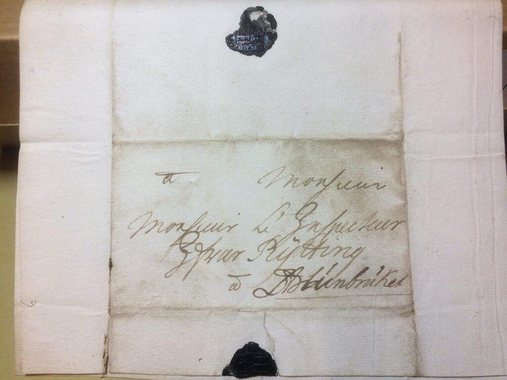 Christina Piper till Ryting 11 nov 1727 kuvert