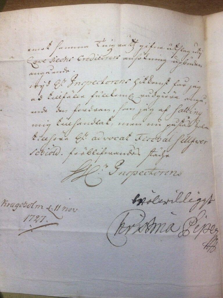 Christina Piper till Ryting 11.11 1727 sid 2