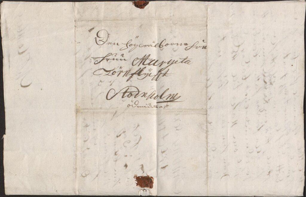 Margareta Törnflyckt 17 augusti 1726 brev till Christina Piper kuvert