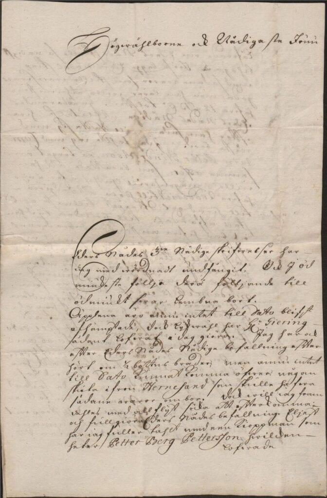 Margareta Törnflyckt 17 augusti 1726 brev till Christina Piper sid 1