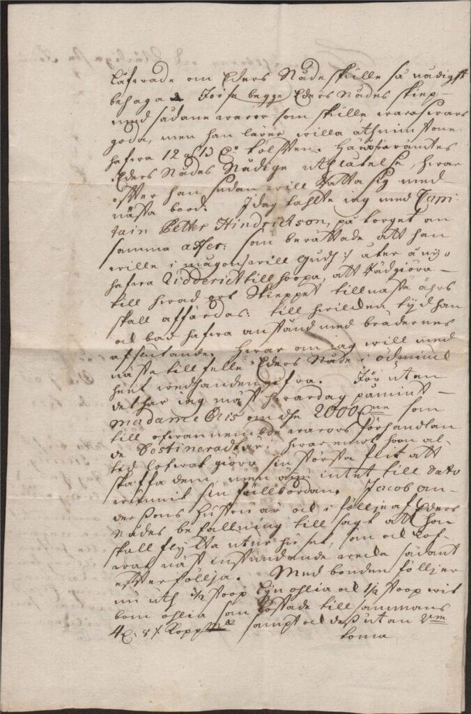 Margareta Törnflyckt 17 augusti 1726 brev till Christina Piper sid 2