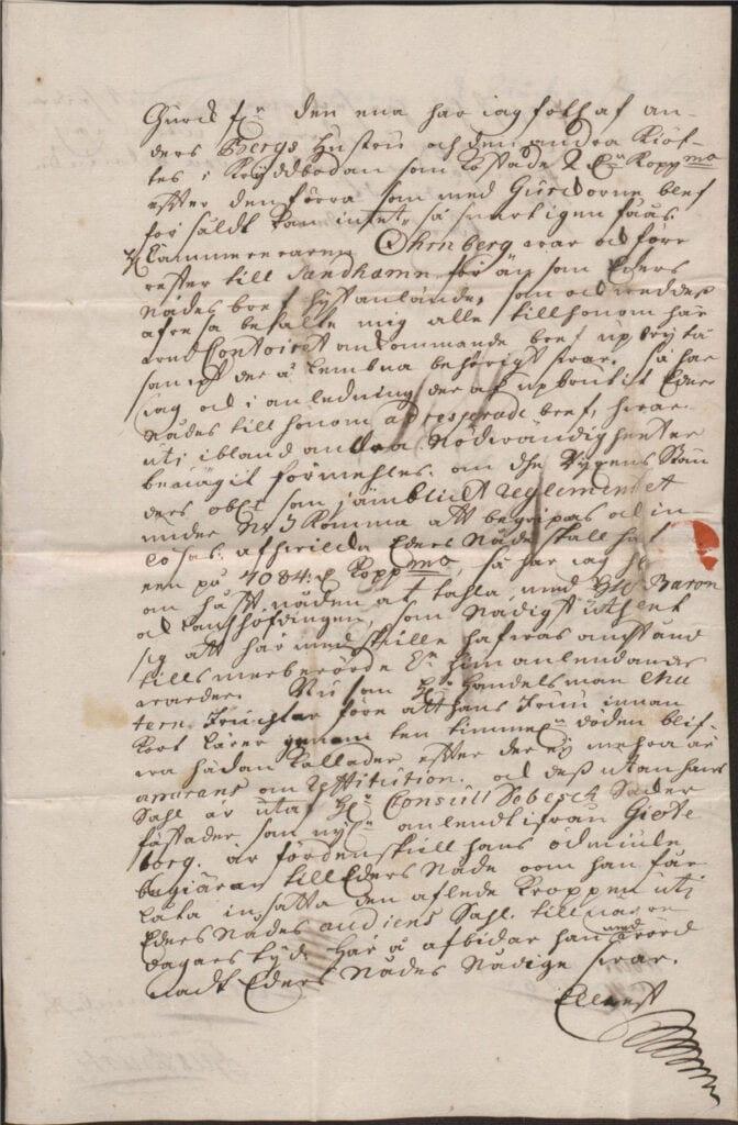 Margareta Törnflyckt 17 augusti 1726 brev till Christina Piper sid 3