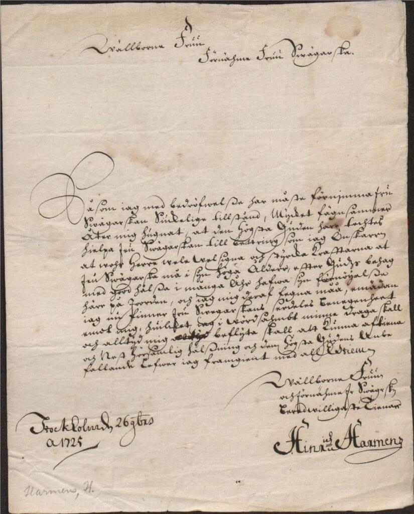 brev från Hine Haemens till Margareta Törnflyckt 26 nov 1725 brevet