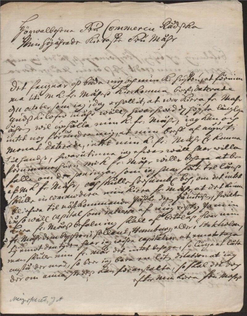 3 nov 1721 från J A Meyerfeldt sid 1