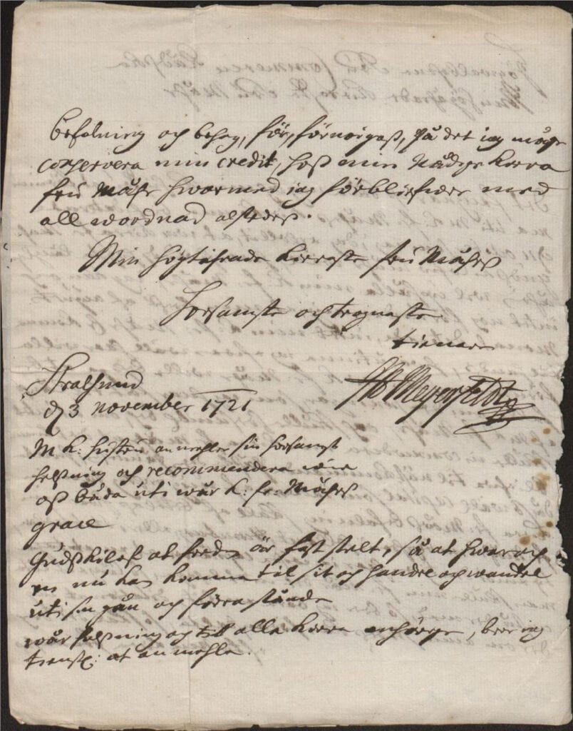 3 nov 1721 från J A Meyerfeldt sid 2