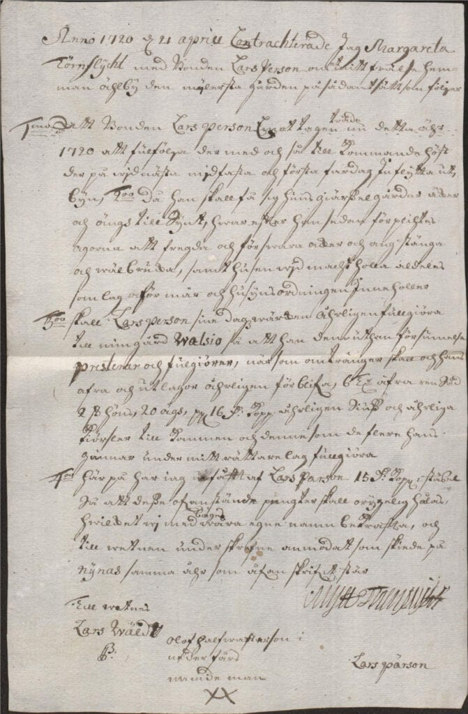 Kontrakt anno 1720 den 21 april