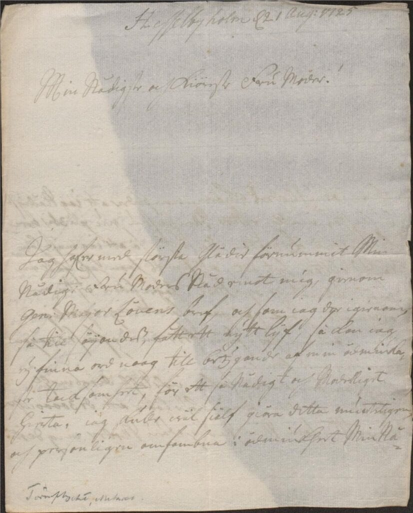 brev Hesslebyholm 21 aug 1725 sid 1