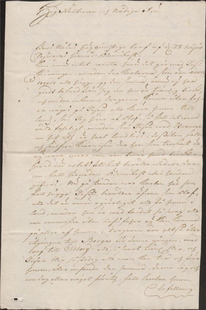 brev 1 mars 1722 från Johan Örnbergh sid 1