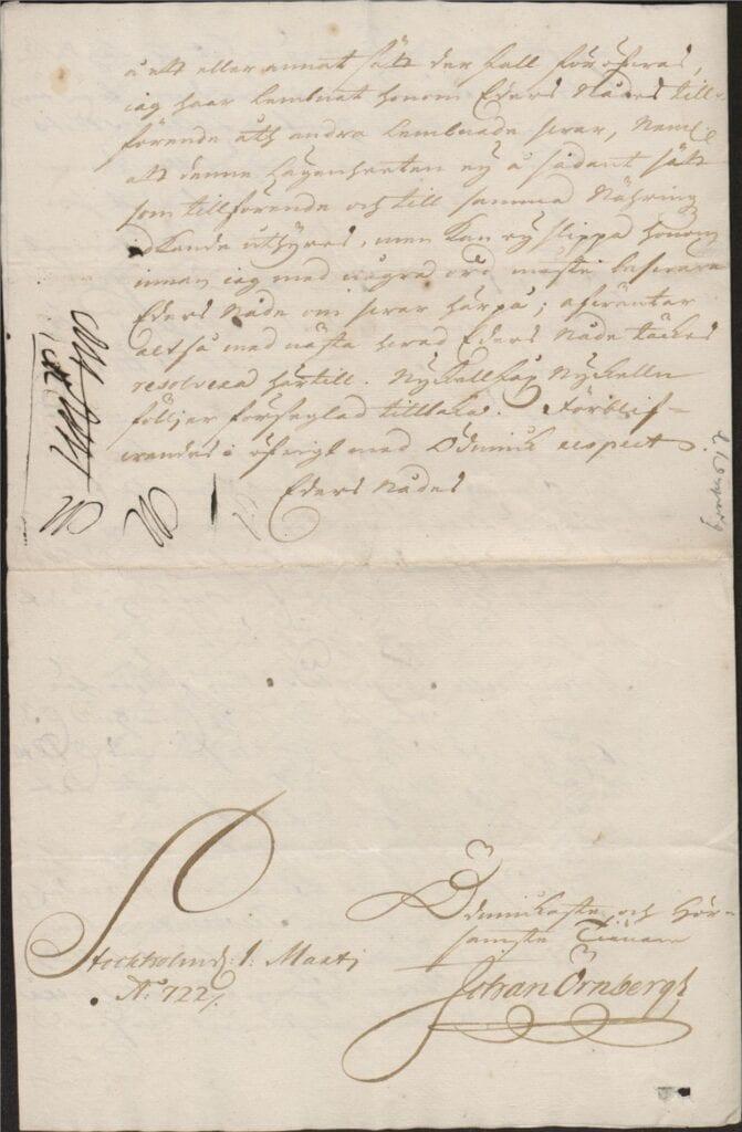 brev 1 mars 1722 från Johan Örnbergh sid 4