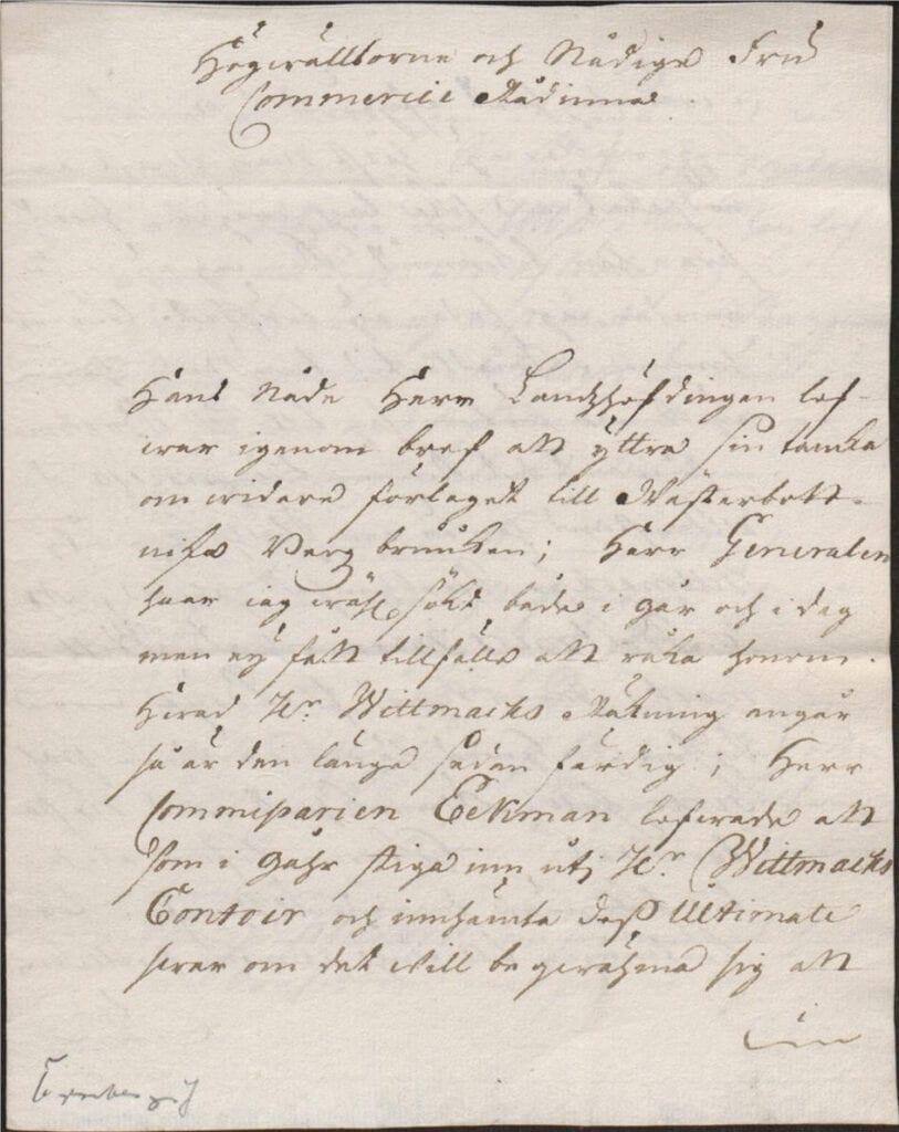brev från Johan Örnberg 8 dec 1726 sid 1