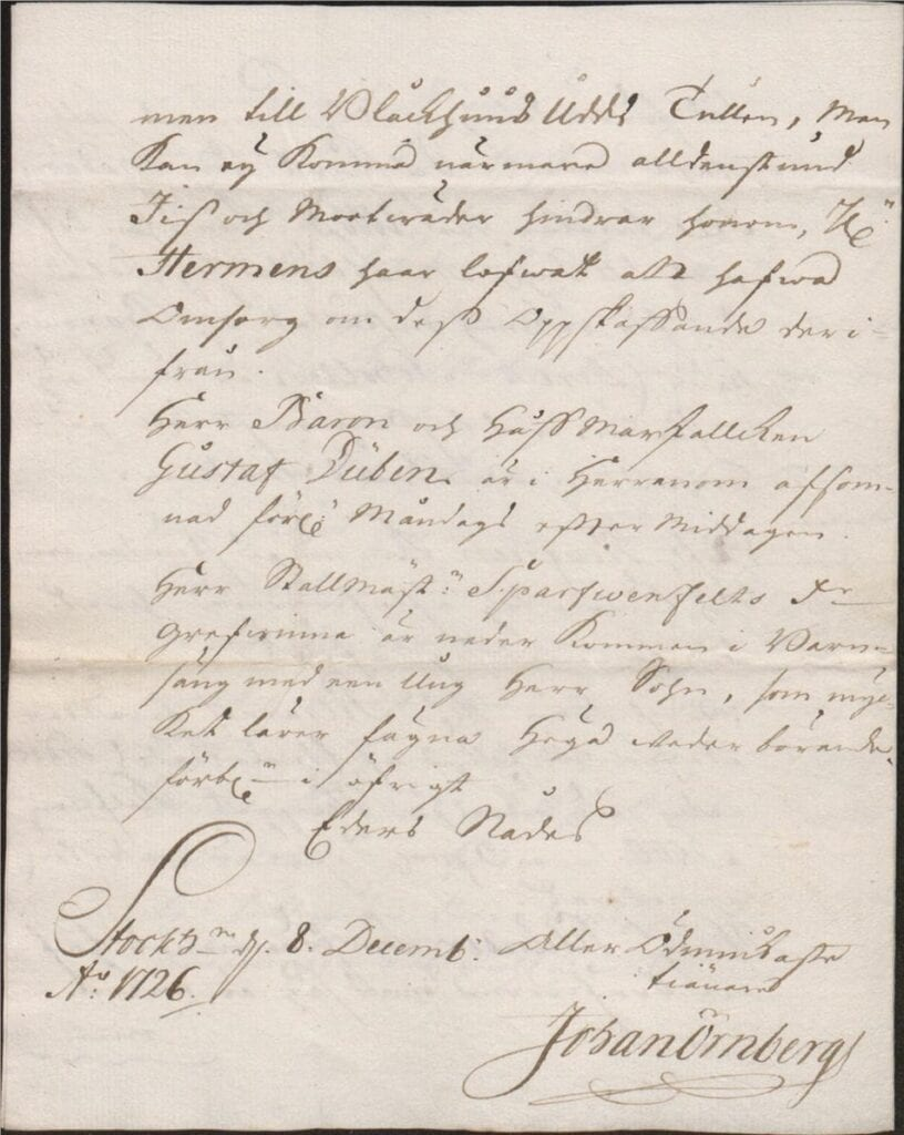 brev från Johan Örnberg 8 dec 1726 sid 4